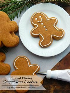 Soft and Chewy Gingerbread Cookies. These cookies are worth every second you spend in the kitchen! They are so soft and chewy. Their flavor is out of this world! Christmas just isn't the same without (Best Christmas Treats) Healthy Gingerbread Cookies, Gluten Free Gingerbread, Holiday Cookies, Holiday Treats, Holiday Recipes, Christmas Recipes, Holiday Parties, Holiday Fun, Christmas Cooking