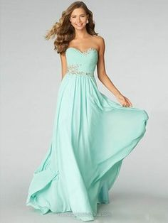 A-line Chiffon Sweetheart Beading Floor-length Formal Dresses -AUD$173.39