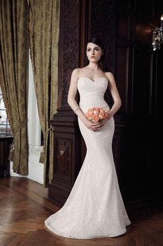 Charming #Vintage Strapless #Sweetheart #Lace Patterns #Wedding Dress with Sweep Train