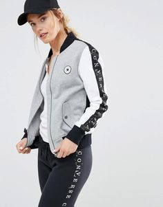 Converse Monochrome Bomber Jacket With Taped Seam – heidy v – Join the world of pin Sport Outfits, Casual Outfits, Cute Outfits, Latest Fashion Clothes, Latest Fashion Trends, Monochrom, Asos Online Shopping, Sports Women, Sportswear
