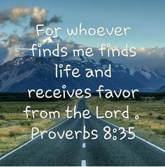 Whoever finds wisdom finds life... Proverbs 8