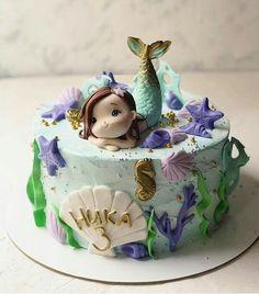 Little Mermaid Cakes, Mermaid Birthday Cakes, Baby Birthday Cakes, Fondant Cakes, Cupcake Cakes, Sirenita Cake, Sea Cakes, Girl Cakes, Cute Cakes