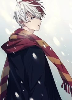 So beautiful... Todoroki with a scarf