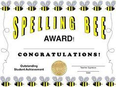 Spelling Bee Certificate Bee Certificate, Certificate Of Achievement, Spelling Bee, Teacher Newsletter, Teacher Pay Teachers, Kindergarten, Congratulations, Posters, Teaching