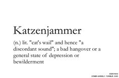 "pronunciation | 'kaht-zen-""ya-mer                               #katzenjammer, german, noun, hangover, cat, cat's wail, sound, noise, discordant noise, bad hangover, depression, bewilderment, words, otherwordly, other-wordly, definitions, K"