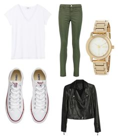"""""""New York"""" by lorenabaez ❤ liked on Polyvore featuring J Brand, Converse, Paige Denim and DKNY"""