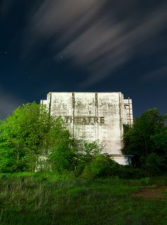 The decaying screen shell of the 271 Drive-In Theatre in Paris, Texas. Built in 1948, abandoned in 1983.