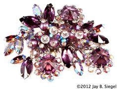 Vendome Purple & Aurora Borealis Rhinestone Brooch Pink Jewelry, Rhinestone Jewelry, Vintage Rhinestone, Vintage Brooches, Vintage Pins, Vintage Costume Jewelry, Vintage Costumes, Vintage Jewelry, Jewelry Stores