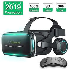 Pansonite Vr Headset with Remote Controller[New Version] Glasses Virtual Reality Headset for VR Games and Movies Eye Care System for iPhone and Android Smartphones Black * Check this awesome product by going to the link at the image-affiliate link. Virtual Reality Viewer, Virtual Reality Glasses, Virtual Reality Headset, Cardboard Viewer, Vr Helmet, Vr Shinecon, Vr Games, Video Games, 3d Glasses