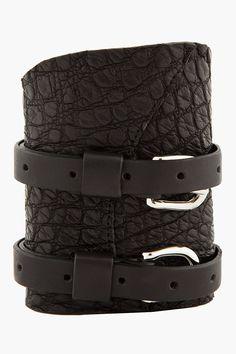 BALMAIN Black croco-embossed Buckle cuff