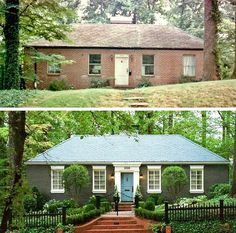 Some people can never afford a modest starter home. before-and-after-atlanta-brick-home – starter home upgrade – curb appeal Some people can never afford a modest starter home. before-and-after-atlanta-brick-home – starter home upgrade – curb appeal Home Exterior Makeover, Exterior Remodel, Ranch Exterior, Home Upgrades, Architecture Renovation, Architecture Design, Exterior Paint, Exterior Design, Exterior Signage