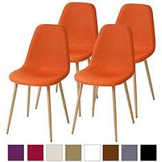 Chaises de sale à manger Albatros rétro FANO Lot de 4 chaises, orange, testées par SGS