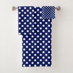 Polka dot bath towel set - home gifts ideas decor special unique custom individual customized individualized