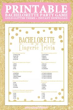 Bachelorette Lingerie Trivia Game - Bachelorette Party - Clean, Fun Game - Instant Download - Gold Theme