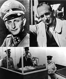 "On May 11, 1960;  Israelis capture Adolf Eichmann.  Eichmann was one of the chief architects of the Nazi policy of  extermination, The Final Solution.  ""I will leap into my grave laughing because the feeling that I have five million human beings on my conscience is for me a source of extraordinary satisfaction."" Adolf Eichmann, 1945"