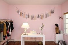 Pink office! from:http://www.apartmenttherapy.com/la/emily-schumans-modern-rustic-home-with-a-vintage-twist-house-tour-139001