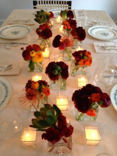 Small Colorful Flower Arrangements Dress Up A Table Add Votives To Light It