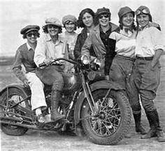 Women (7) on Vintage Motorcycle
