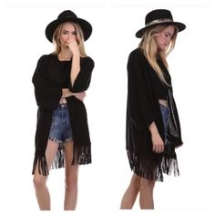 SALE 🎀 Festival Fringe Cardigan Sweater Pair this fun fringe poncho cardigan sweater with cut offs or distressed denim and booties for a cute boho look. 60% Cotton and 40% Acrylic. This item is one size fits most but would best fit small/medium. Happy to offer bundle discounts!  THREE left! Tea n Cup Sweaters