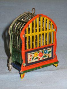 1920 tin toy birdcage