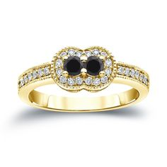 Auriya 14k Gold 1/2ct TDW 2-Stone Round Cut Black Diamond Engagement Ring (Black, SI2-SI3) (White Gold - Size 8), Women's