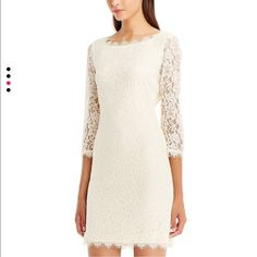 DVF Zarita Lace Dress Ivory, Size 2 This beauty is just too small for me and it's heartbreaking! Gorgeous ivory lace dress from DVF, uber classic Zarita style. Size 2 fits TTS. It was worn 1-2 times and is in excellent condition. Diane von Furstenberg Dresses Mini