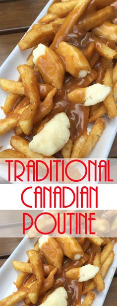 Traditional Canadian Poutine French Fries with Gravy and Cheese Curds – A savory mound of french-fried potatoes topped with beef gravy and fresh cheese curds. Poutine is one the ultimate late-night snacks. Canadian Poutine, Canadian Food, Canadian Recipes, Canadian Dishes, Meat And Potatoes Recipes, Potato Recipes, Bacon Recipes, Pie Recipes, Gastronomia