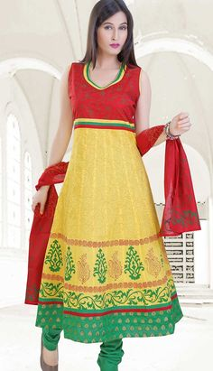 Buy Bollywood Latest Yellow Cotton Churidar Kameez #AnarkaliDresses.. http://bit.ly/1COzvOw