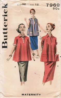 1950s Butterick 7969 Vintage Sewing Pattern Misses Maternity