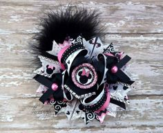 Over the Top Stacked Hair Bow Minnie by ThruLookingGlassBow, $15.50