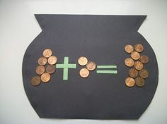 I love this... maybe wouldn't use pennies but something with the plus and = sign for the 3ys.. For my kids at home. this will be a summer must....