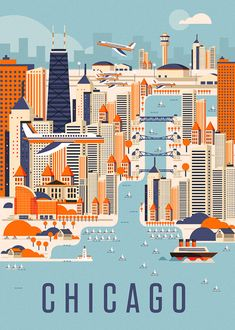 Chicago by Neil Stevens - vintage aesthetic Chicago Poster, Chicago Art, Chicago Travel, Chicago Skyline, Chicago Illinois, Poster City, Florida Travel, Beach Travel, Mexico Travel