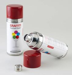 There is nothing like finishing your illegal tag and having a cocktail. This cocktail shaker adds a touch of class to any back alley graffiti party.