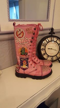 Luxus Nolita Pocket Girls Boots pink 32 Patches bling Rock