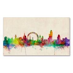 いつでも心にロンドンを。カラフルで抽象的な、アンダーグラウンド的な? 名刺。#zazzle #名刺 #ロンドン