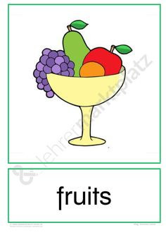 Flashcards For Kids, Teaching Vocabulary, Free Fruit, English Grammar, Pre School, Phonics, Preschool Activities, Learning, Words