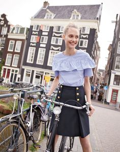 J.Crew Looks We Love: women's Edie top in shirting stripe and sailor skirt.