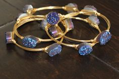 The White Chandelier - Bourbon and Boweties Blue Druzy Bangle, $36.00 (http://www.thewhitechandelier.com/bourbon-and-boweties-blue-druzy-bangle/)