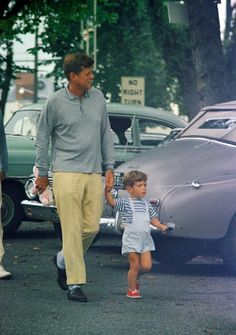 ourpresidents: President Kennedy taking a stroll with son, John Jr. -from the Kennedy Library