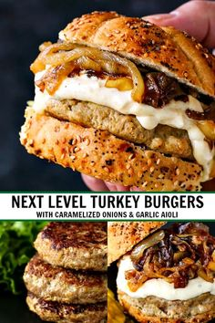 Next Level Turkey Burgers with Caramelized Onion & Aioli are so juicy and flavorful you'll never look at a turkey burger the same! Turkey Burger Recipes, Ground Turkey Recipes, Turkey Burger Seasoning, Best Turkey Burger Recipe Healthy, Cooking Turkey Burgers, Grilled Burger Recipes, Healthy Ground Turkey, Turkey Meatloaf, Gourmet Burgers