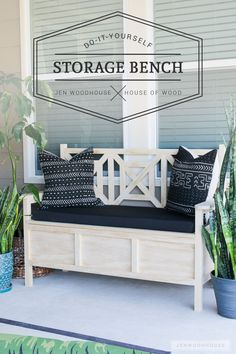 How to build a DIY outdoor storage bench with beautiful fretwork panels and hidden storage under the seat.