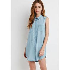 Forever 21 Chambray Shirt Dress ($33) ❤ liked on Polyvore