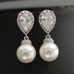 Pearl Bridal Earrings Pearl Jewelry White or by poetryjewelry, $30.00