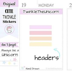 Check out A315 | weekly blank headers,pastel header planner stickers,planner headers,rainbow headers,label stickers,,live planner,eclp headers on twinkletheunicorn