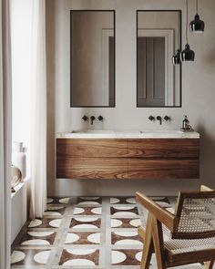 Scrub up GOOD. 👀🖤// This warm-yet-minimal bathroom design by is our kinda space. // Floor tile and vanity by Bad Inspiration, Bathroom Inspiration, Interior Inspiration, Interior Ideas, Minimal Bathroom, Small Bathroom, Warm Bathroom, Bathroom Ideas, Bathroom Designs