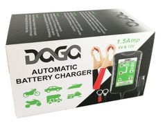 The DAGA Battery Charger comes packed with more features than other similar products! Features: Works on Common Wet-Cell Batteries - SLA / VRLA / GEL / AGM Works on all Vehicles - It is ideal for charging your Car, Motorcycle, Snowmobile, Dirt Bike, SUV, Lawn Mowers, tractors, Trucks, ATV 12V and 6V Battery Selectable Output – Select the voltage output mode to match that of your battery. 1.5 Amp Speed Charge – Charges faster than most other units with lesser Amperage such as the Battery Tender J