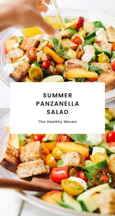 The perfect tomato and summer panzanella salad recipe using leftover bread and fresh summer produce for a refreshing appetizer or entree.