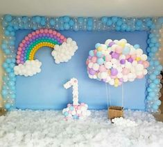 Rainbow birthday party decorations girls Ideas for 2019 1st Birthday Balloons, Unicorn Themed Birthday Party, Rainbow Birthday Party, Baby Girl Birthday, Unicorn Party, First Birthday Parties, Birthday Party Themes, Birthday Backdrop, Girl Birthday Decorations