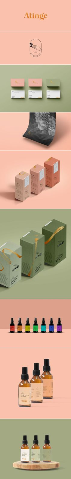 (35) Sophisticated and charming branding for Atinge by Cocorrina:   Branding and Design   Pinterest / Branding / Ideas / Inspiration / Brand / Design / Packaging / Beauty / Cosmetics / SkinCare / Botanical / Vintage / Retro / Line Art / Gold / Militar Green / Color Accent / Classic