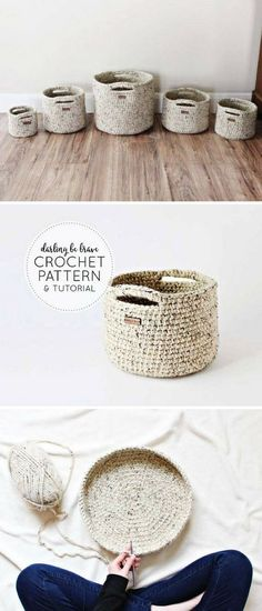 crochet diy I have rounded up a big collection of free Crochet home dcor patterns that will really add a charm and style to your home and give it a crafty look. Crochet Diy, Crochet Motifs, Crochet Home Decor, Crochet Crafts, Crochet Ideas, Crochet Storage, Diy Storage, Storage Baskets, Crochet Style